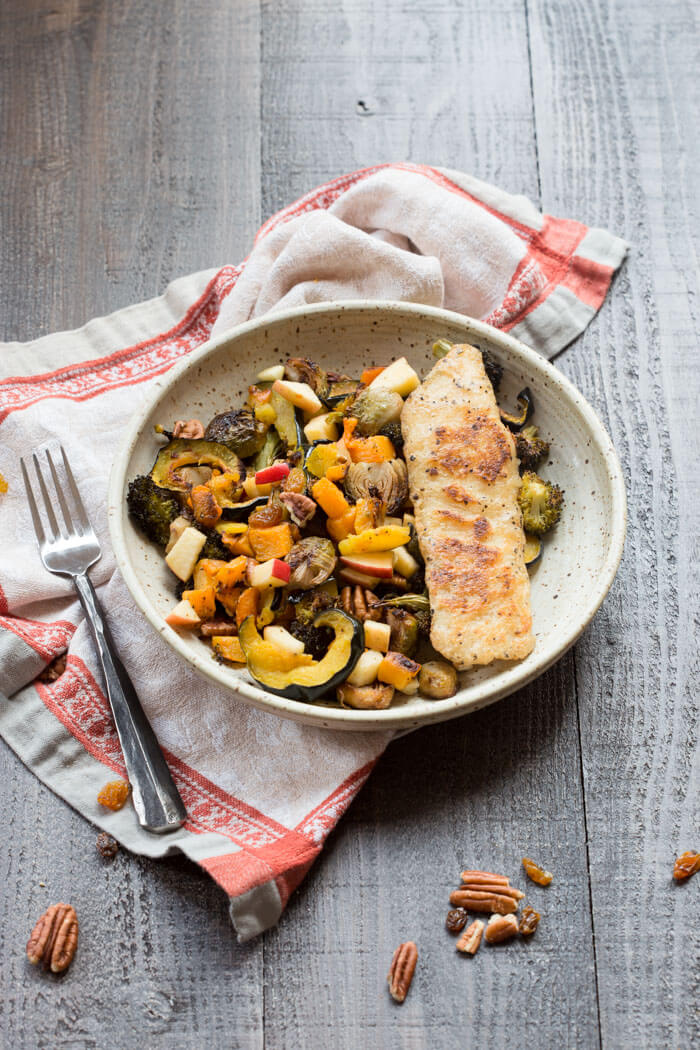 You guys...This Harvest Vegetable Medley is everything you want to eat this time of year. Roasted butternut squash, acorn squash, Brussels sprouts, apples and pecans. So good. Trust me!