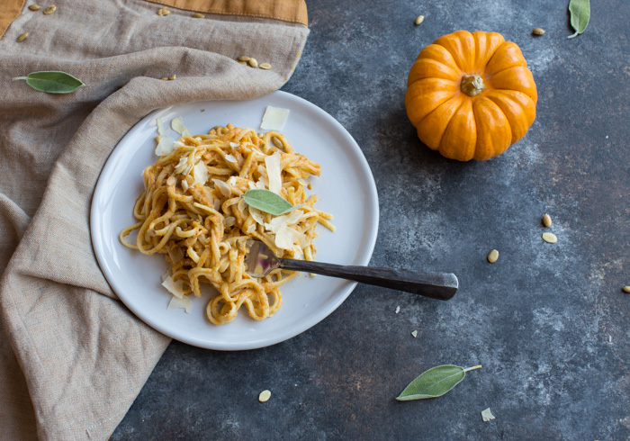 Pumpkin Spice Vodka Sauce Linguine... what adulting looks like on Halloween. Traditional vodka sauce is made with tomatoes and cream, but this recipe has been reinvented with pumpkin puree and whole milk yogurt.