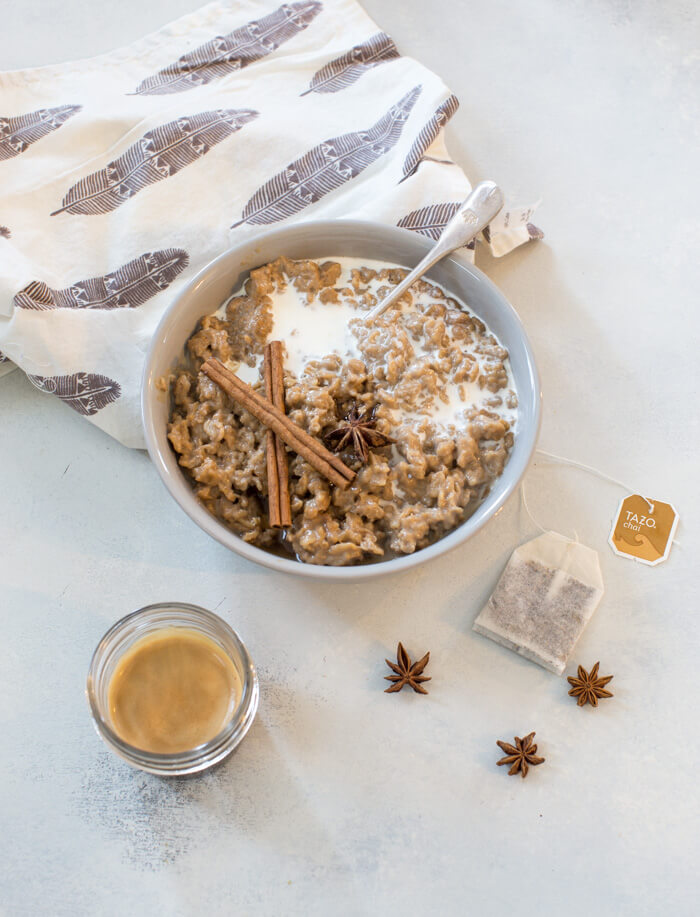 If you're a chai latte lover but like to live on the dark (errr caffeinated) side with espresso this Dirty Chai Latte Oatmeal is for you. Creamy oatmeal infused with chai tea and drowned in a shot of espresso. Breakfast of champions.