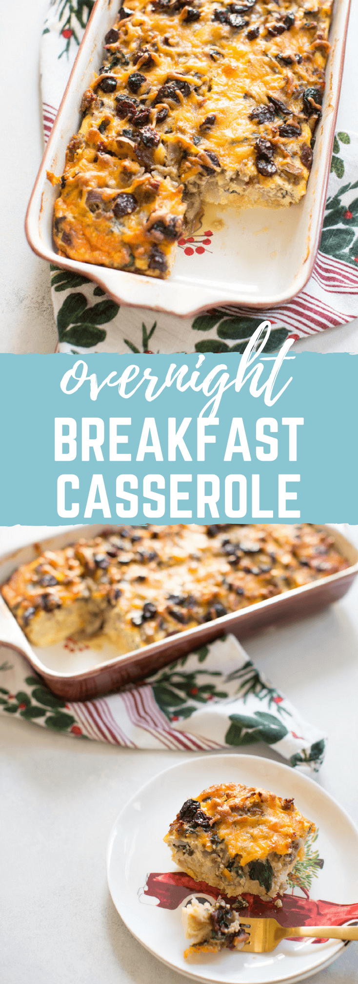 Christmas Breakfast Strata an easy overnight breakfast casserole made with eggs, sourdough bread, chard, mushrooms, and all dat cheese with cherries on top!