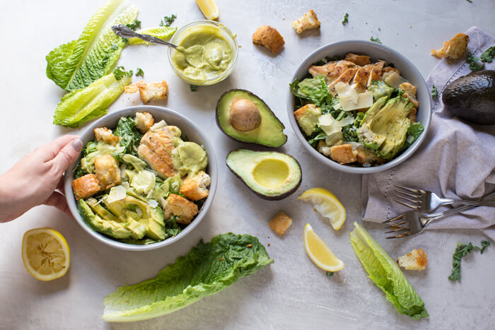 Avocado Chicken Caesar Salad made with a simple mayo and egg free dressing thanks to creamy AVOCADOS. A healthy weeknight or lunch recipe.