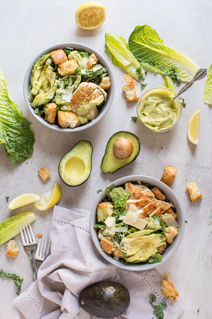 Avocado Chicken Caesar Salad made with a simple mayo and egg free dressing thanks to creamy AVOCADOS.A healthy weeknight or lunch recipe.