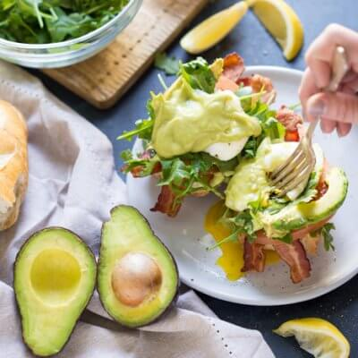 Eggs Benedict BLT with Avocado Hollandaise
