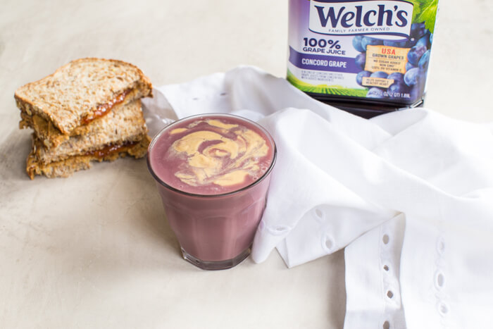 PB&J Chickpea Smoothie, a vegan protein shake that takes you back to your childhood. We love this recipe because it's made with 4 whole food ingredients—chickpeas, 100% grape juice, peanut butter, and flax. Gimme.