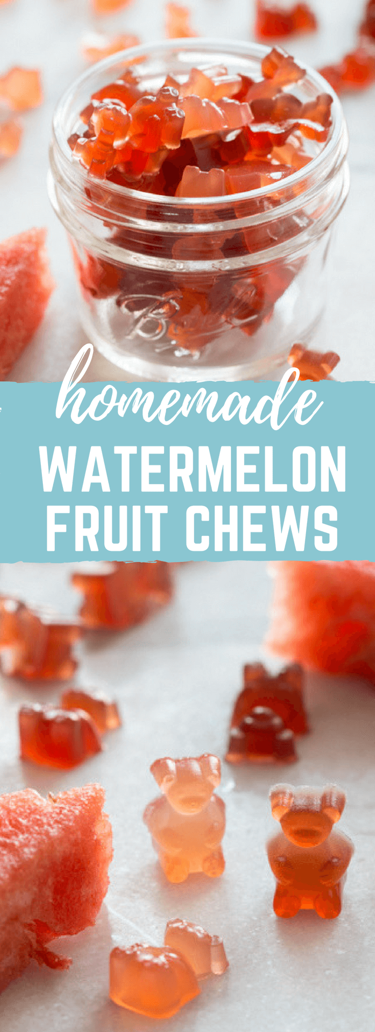 Homemade Sour Watermelon Fruit Chews. An easy whole fruit gummy bears recipe made with watermelon juice. Kids love these gummies!