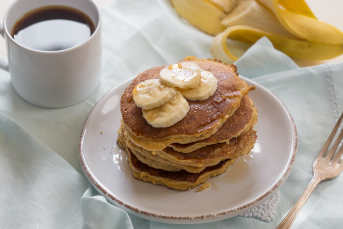 Paleo Banana Coconut Flour Pancakes, a gluten free dairy free pancake recipe for fluffy paleo banana pancakes made with coconut flour.