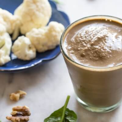 Hidden Veggie Chocolate Coffee Shake made with cauliflower (promise, you can't taste it). Low sugar, dairy free, vegan chocolate shake filled with veggies.