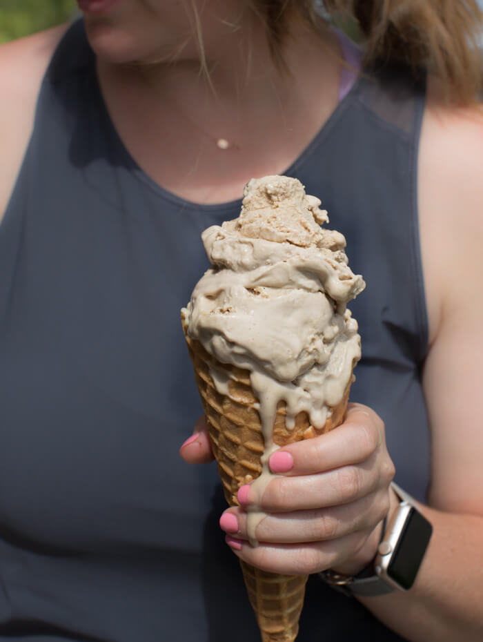 Coffee Cashew Ice Cream.  You guys, ice cream this time of year is pretty much life. It's so hot and this dairy free and vegan ice cream makes the perfect sweet treat to enjoy any time of day.  I mean it's made with only ingredients-- cashews, iced coffee, almond milk and maple syrup.