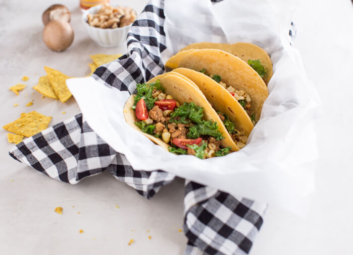 Superfood Turkey Tacos a family favorite with an extra dose of veggies that you can't see. :) Ground turkey tacos sautéed with super tiny mushrooms, walnuts, and cauliflower rice to make a mostly plant based meaty meal.