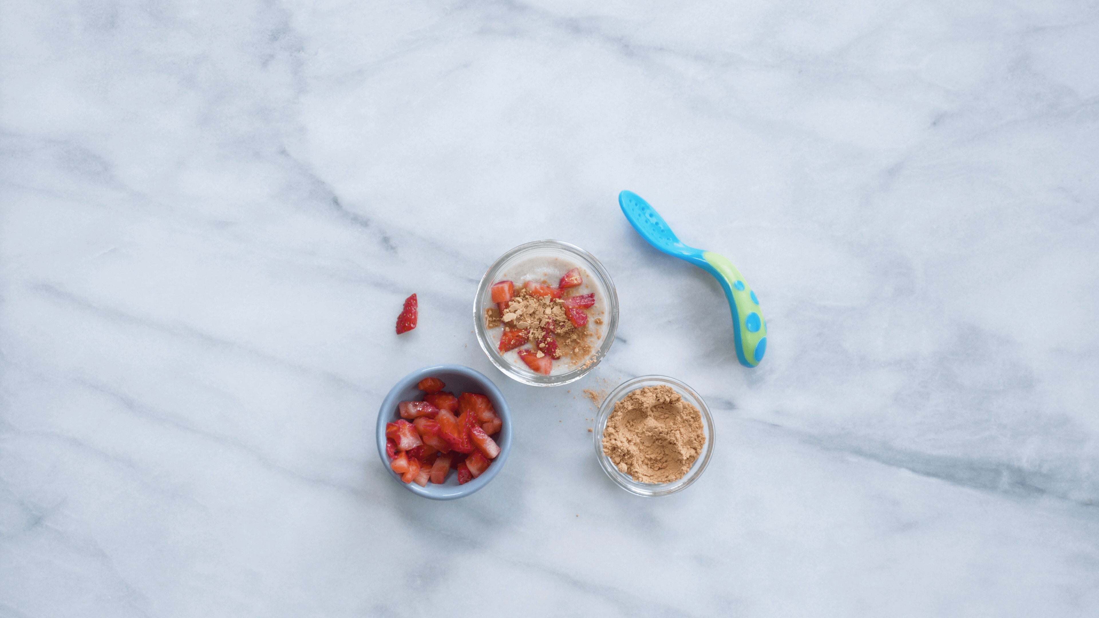 With the latest research suggesting early peanut introduction, we've rounded up 8 ways on how to feed peanut butter to babies. Prepare your favorite baby oatmeal or cereal with strawberries (diced, mashed, or pureed), and sprinkle with a little PB powder. Give it a stir and dunk with a spoon to serve to your baby.