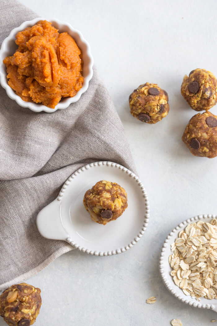 """Pumpkin Chocolate Chip Power Balls better known as """"cookies"""" in our house are no bake whole food goodness and can be made gluten free and vegan."""