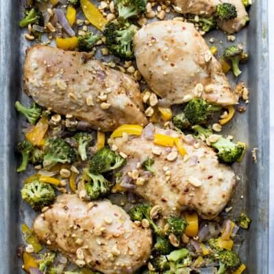 Winner winner Sheet Pan Peanut Butter Chicken and Broccoli dinner. We love sheet pan dinners and this one tastes like healthy Chinese take out!