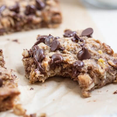 Soft Baked Almond Butter Banana Oat Bars
