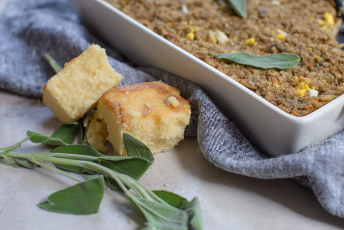 Southern Cornbread Dressing made with hard boiled eggs and Jiffy cornbread mix. Gluten free and vegan stuffing recipe options.