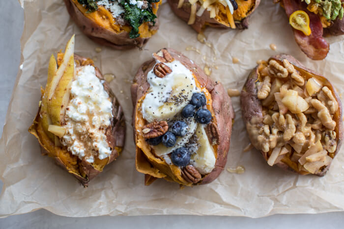 Change the breakfast game with these sweet and savory Breakfast Sweet Potatoes 6 Ways by trying a different flavor combination throughout the week.