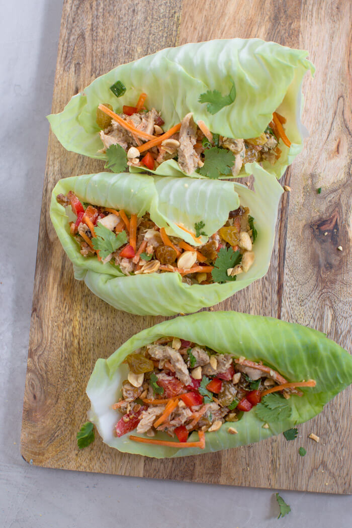 high protein Thai chicken salad wraps