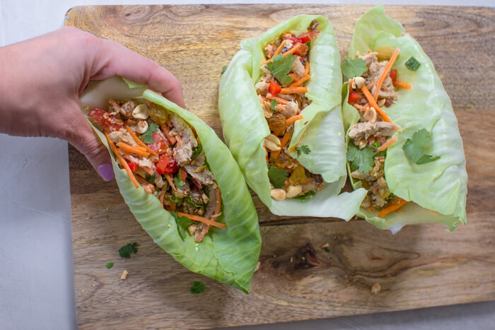 high protein Thai chicken salad wraps with veggies