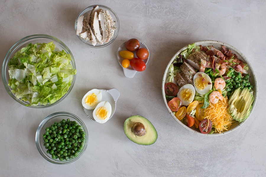 overhead shot of easy cobb salad ingredients deconstructed
