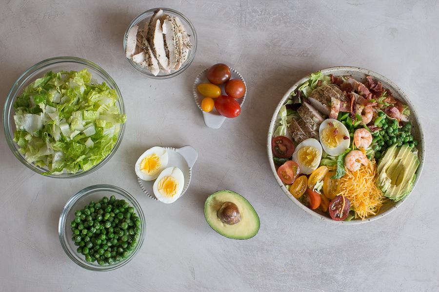 overhead shot of easy cobb salad ingredients deconstructed