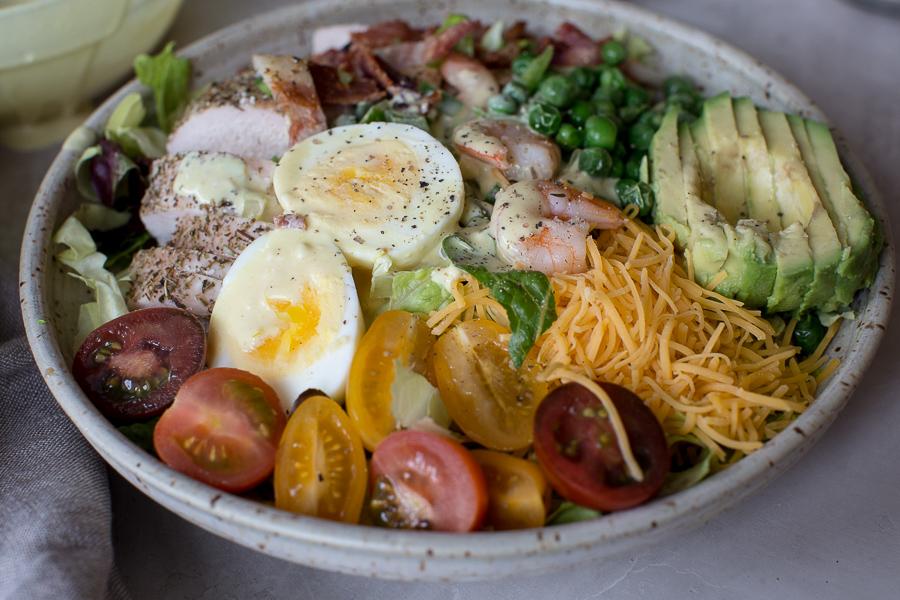 cobb salad, cobb salad recipe, cobb salad dressing, cobb salad calories