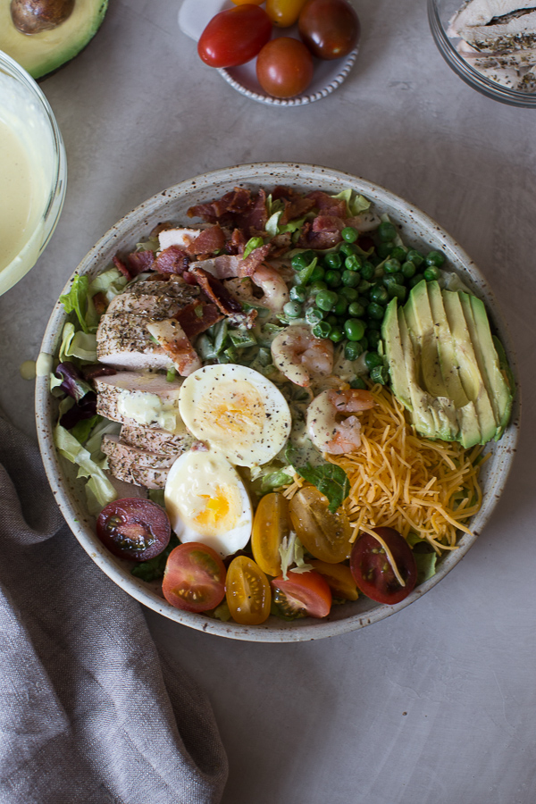 cobb salad recipe with chicken, eggs, bacon and avocado
