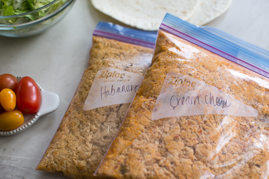 shredded chicken breast in freezer friendly bags