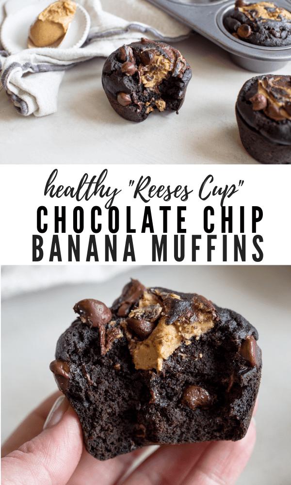 healthy chocolate chip muffins gluten free coconut flour banana peanut butter