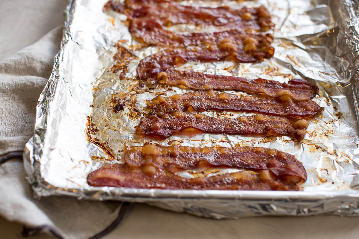 protein in bacon after baking in the oven