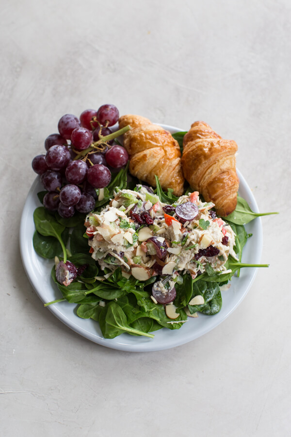 Greek Yogurt Chicken Salad with grapes and cranberries