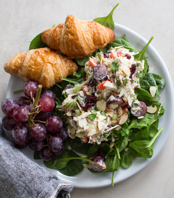 Greek yogurt chicken salad with croissants
