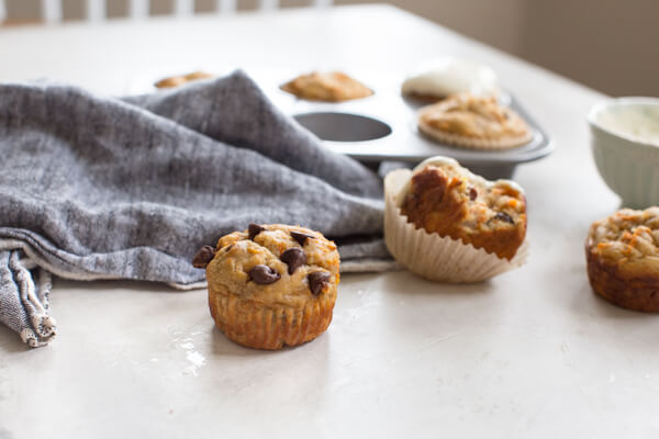 gluten free carrot cake muffin with chocolate chips