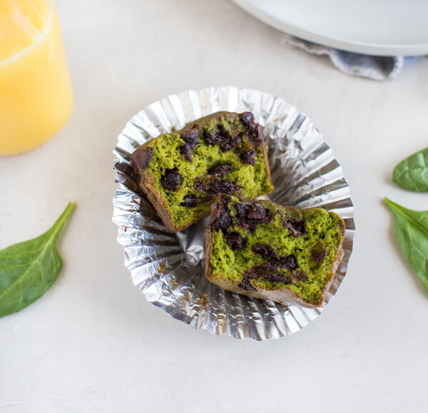 Gluten Free Spinach Muffin are healthy breakfast muffins made in blender and made with orange juice and chocolate chips