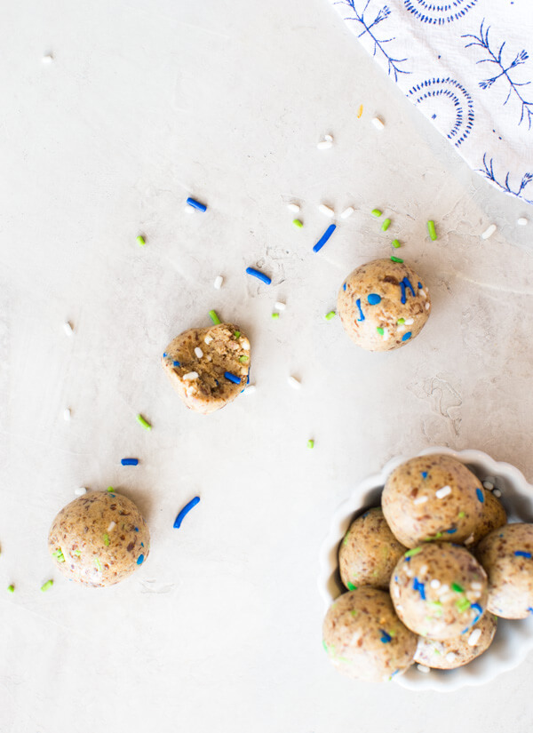 Cake Batter Power Balls, a no bake protein ball recipe made with dates, cashew butter and protein powder.