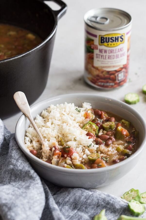 Easy Vegetable Gumbo recipe made with an authentic dark French roux, okra, tomatoes and Creole seasonings. Loaded with Louisiana flavors and beans!