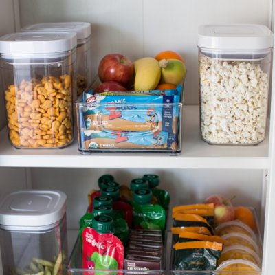 healthy snacks for kids organized in pantry