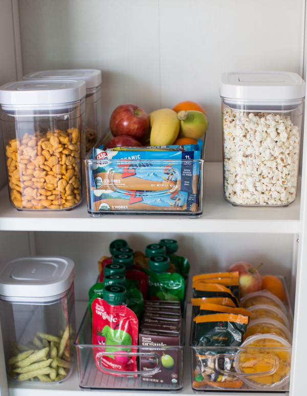 organized in pantry with nutritious snacks for kids